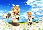 blonde_hair flower kagamine_len kagamine_rin sky vocaloid
