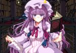 bespectacled book bookshelf crescent glasses hair_ribbon hat hebata library long_hair patchouli_knowledge pentagram purple_eyes purple_hair ribbon smile solo touhou voile