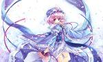 capura.l fan hat petals pink_eyes pink_hair ribbon saigyouji_yuyuko short_hair solo touhou