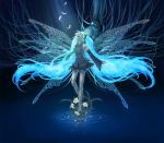 closed_eyes detached_sleeves feathers flower hatsune_miku long_hair machine necktie qoo_(pixiv120340) twintails vocaloid water wings