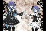 anti_the_holic_(vocaloid) anti_the_infinite_holic_(vocaloid) detached_sleeves dress flower frills garters gothic gothic_lolita gradient_hair green_eyes hair_flower hair_ornament hairband hairclip heterochromia holding_hands kagamine_rin lolita_fashion long_hair megurine_luka multicolored_hair multiple_girls purple_hair red_eyes rose short_hair skirt thighhighs tr vocaloid zettai_ryouiki