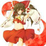 bow brown_hair detached_sleeves hair_bow hakurei_reimu japanese_clothes long_hair midriff miko red_eyes solo touhou twintails yin_yang zoo_min