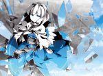 asakura_masatoki blue blue_eyes broken_glass capelet dress from_above girl glass looking_up monochrome partially_colored polychromatic rain sad shanghai shatter short_hair sky solo standing touhou wallpaper