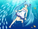 animals blue_eyes blue_hair fish hatsune_miku tagme underwater vocaloid water white_dress