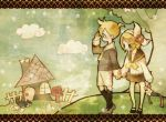 brother_and_sister cat holding_hands kagamine_len kagamine_rin siblings twins vocaloid