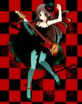 "akiyama_mio asymmetrical_clothes bangs bare_shoulders bass bass_guitar black_hair blue_legwear blunt_bangs blush breasts cane checkered cleavage detached_sleeves don't_say_""lazy"" dress facepaint gothic grey_eyes hat hime_cut instrument k-on! long_hair mini_top_hat pantyhose plectrum single_glove skirt solo striped top_hat turquoise_pantyhose"