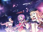 3girls ahoge aqua_eyes artist_request blonde_hair blue_eyes blue_hair dress earrings gloves guitar hat instrument jewelry long_hair lynn_minmay macross macross_frontier microphone midriff multiple_girls mylene_flare_jenius navel open_mouth pink_hair ribbon sheryl_nome singing smile source_request space underboob