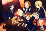 absurdres akitake_seiichi akiyama_mio bang bangs blazer blunt_bangs chair cookie desk dessert finger_gun food highres hime_cut hirasawa_yui k-on! kotobuki_tsumugi megami multiple_girls official_art pantyhose scan school_uniform shoes socks table tainaka_ritsu tray uwabaki v wink