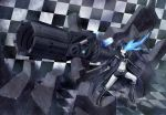 arm_cannon belt bikini_top black_hair black_rock_shooter black_rock_shooter_(character) blue_eyes boots chain checkered cross flat_chest front-tie_top gloves gun highres hood jacket knee_boots long_hair midriff pale_skin scar shorts solo star twintails uneven_twintails very_long_hair weapon yanphoenix zipper