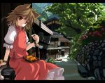 bad_id brown_hair cat_ears cat_tail chen dango food nejime scenery short_hair tail touhou wagashi