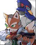 falco_lombardi fox_mccloud furry gloves green_eyes gun headset lowres nintendo oekaki star_fox starfox tail weapon