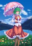 flower grass green_hair highres impossible_clothes impossible_shirt impossible_vest kazami_yuuka lake landscape light_smile meadow mountain pantyhose parasol pico_(picollector79) plaid plaid_skirt plaid_vest red_eyes sheer_legwear shirt short_hair skirt skirt_set sky solo touhou umbrella