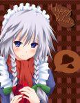 blue_eyes blush braid gift heart holding holding_gift izayoi_sakuya maid scarf silver_hair touhou twin_braids valentine yuurakudou_kurono