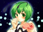androgynous antenna antennae blush cape fireflies gift green_eyes green_hair holding holding_gift nohko reverse_trap short_hair solo touhou valentine wriggle_nightbug