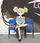 blonde_hair blue_eyes child cross graffiti hair_ribbon hatchin_morenos michiko_to_hacchin michiko_to_hatchin ribbon sitting twintails