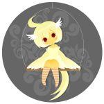 bird_girl chibi dress headwings lowres misaki original red_eyes short_hair tail wings