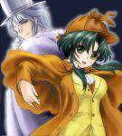 1boy 1girl detective green_hair jochuu-san jochuu-san's_master lowres oekaki original yagisaka_seto