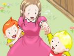 1girl 2boys :d blonde_hair blush brown_hair claus dress flower grass hand_holding hinawa looking_back lowres lucas mother_(game) mother_3 multiple_boys nintendo oekaki open_mouth outdoors pink_dress plant short_sleeves sidelocks smile upper_body