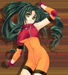 1girl breasts cosplay green_eyes green_hair jochuu-san long_hair lowres oekaki original parody solo solty_rei solty_revant solty_revant_(cosplay) under_boob yagisaka_seto