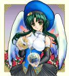 1girl green_hair jochuu-san lowres oekaki original outside_border solo yagisaka_seto