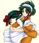 1girl green_hair jochuu-san lowres maid oekaki original solo yagisaka_seto