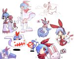1girl highres multiple_views oekaki original pleinair rabbit same-san shark stuffed_animal stuffed_toy usagi-san