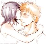 1boy 1girl black_hair bleach blush closed_eyes couple hetero holding kiss kuchiki_rukia kurosaki_ichigo lowres orange_hair short_hair sketch