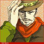 1boy cowboy cowboy_hat flint hat lowres male_focus mother_(game) mother_3 nintendo oekaki solo western