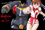 brown_eyes brown_hair clenched_hand gunbuster headband leotard mecha oekaki super_robot takaya_noriko thighs top_wo_nerae! wristband