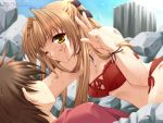 1boy 1girl blonde_hair blood blood_on_face game_cg lefeuille minase_lin sorairo_no_organ v