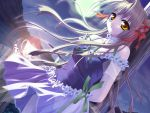 1girl game_cg lefeuille minase_lin moon night ribbon silver_hair sky solo sorairo_no_organ