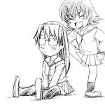 animated animated_gif azumanga_daioh lowres mizuhara_koyomi monochrome sketch takino_tomo