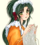 1girl green_hair jochuu-san knitting lowres maid oekaki original solo yagisaka_seto