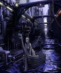 1girl all_fours boat breasts canal city cleavage dark large_breasts oar original purple science_fiction solo sugiura_yoshio viking water watercraft waterfall