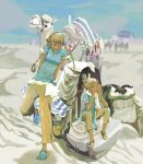 1boy 1girl animal blonde_hair blue_sky braid camel dark_skin desert green_eyes hands_on_own_cheeks hands_on_own_face long_hair looking_at_viewer luggage original outdoors pants sand silhouette sitting sky slippers smile twin_braids twintails