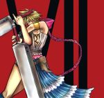 1boy buster_sword closed_eyes cloud_strife cosplay crossdressing dress dual_wielding final_fantasy final_fantasy_vii final_fantasy_x final_fantasy_x-2 male_focus manly parody red_background showgirl_skirt solo sword weapon what yuna yuna_(cosplay) yuna_(ff10) yuna_(ff10)_(cosplay) yuna_(final_fantasy)_(cosplay)