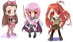 3girls cape crossover female idolmaster kekyo kugimiya_rie long_hair looking_at_viewer louise_francoise_le_blanc_de_la_valliere minase_iori multiple_crossover multiple_girls pentacle popsicle redhead school_uniform seiyuu_connection serafuku shakugan_no_shana shana thigh-highs tsundere zero_no_tsukaima