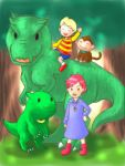 1boy 1girl dinosaur drago kumatora lowres lucas monkey mother_(game) mother_3 nintendo oekaki outdoors shirt striped striped_shirt