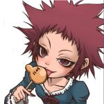 1girl candy cosplay d.gray-man doseisan emu_(toran) kumatora licking lollipop lowres mother_(game) mother_3 nintendo parody popsicle road_kamelot road_kamelot_(cosplay) shaped_lollipop solo