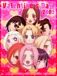 00s 2005 6+girls blonde_hair blue_eyes blush brown_eyes brown_hair everyone female green_eyes haruno_sakura hyuuga_hinata long_hair multiple_girls naruto naruto_shippuuden nohara_rin open_mouth pink_hair pomeranianko red_eyes redhead shizune_(naruto) short_hair smile tayuya temari tenten tsunade valentine violet_eyes yamanaka_ino