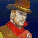 1boy cowboy cowboy_hat flint hat lowres male_focus mother_(game) mother_3 nintendo oekaki rain solo western