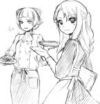2girls apron breath buttons cravat food holding long_sleeves looking_back mamiina menu monochrome multiple_girls plate simoun simple_background smile waitress white_background yun_(simoun)
