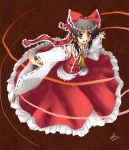 1girl :d bare_shoulders black_hair bow cravat detached_sleeves female full_body hair_bow hair_tubes hakurei_reimu long_hair long_sleeves looking_at_viewer mountain_of_faith open_mouth outstretched_arms red_background red_bow red_skirt ribbon-trimmed_sleeves ribbon_trim samuraiguchi simple_background skirt smile solo touhou vest