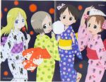 4girls ana_coppola blonde_hair blue_yukata candy_apple checkered child cotton_candy crease fan food fox_mask glasses ichigo_mashimaro itou_chika japanese_clothes kimono mask matsuoka_miu multiple_girls sakai_kyuuta sakuragi_matsuri scan twintails yukata