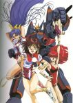80s amano_kazumi arms_behind_head blue_eyes blue_hair bow brown_eyes brown_hair gunbuster hair_ribbon headband highres jung_freud leg_warmers legs leotard long_hair mecha mikimoto_haruhiko ohata_koichi oldschool pointing ponytail ribbon super_robot takaya_noriko top_wo_nerae! undressing wristband