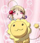 blonde_hair chibi fate/stay_night fate_(series) lion lowres mister_donut pon_de_lion q-gaku riding saber