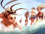 5girls arnold_tsang beach bikini cammy_white capcom chun-li elena elena_(street_fighter) hair_slicked_back highres ibuki_(street_fighter) makoto_(street_fighter) multiple_girls ocean street_fighter street_fighter_iii street_fighter_iii:_3rd_strike street_fighter_iii_(series) surfboard swimsuit udon_entertainment wallpaper