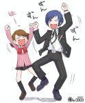 arisato_minato atlus blue_hair bow brown_hair cardigan digital_media_player kei_jiei kitaro parody persona persona_3 ribbon school_uniform serafuku takeba_yukari yotsubato! yuuki_makoto