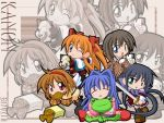 5girls black_hair blonde_hair blue_eyes blue_hair chibi closed_eyes food green_eyes hairband happy kanon kawasumi_mai long_hair minase_nayuki misaka_shiori multiple_girls orange_hair piro red_eyes sad sawatari_makoto short_hair sleeping smile taiyaki tears tsukimiya_ayu very_long_hair wagashi