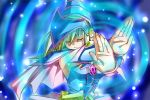 1girl blonde_hair blue_background closed_eyes dark_magician_girl duel_monster magic pentacle solo yu-gi-oh! yuu-gi-ou_duel_monsters